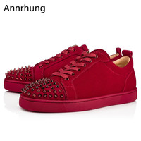 Front Rivet Men Shoes Low Top Sneakers Men Red Black Casual Flats Cozy Round Toe Lace Up Sneakers Thick Bottom Shoes Men 2019
