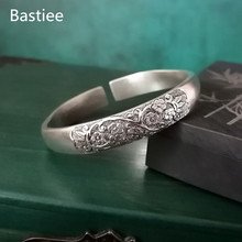 Bastiee Peach Blossom 999 Silver Bangles For Women Thick Silver Bracelet Hmong Handmade Chinese Vintage Bangle Fine Jewellery uglyless real 999 silver fine jewelry women simple fashion thick bangles ethnic fish open bangle handmade engraved lotus bijoux