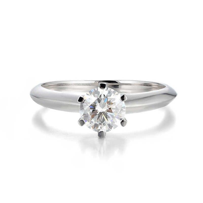 98% オフ! 独身証明 1 カラットリアルナチュラルビックジルコニアジェムストーン結婚指輪シルバー 925 ジュエリー 18 18kゴールド女性のギフト