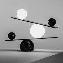 Postmodern noir/or lampes de Table LED marbre chambre chevet 6W bureau lumières boule de verre étude lecture Table luminaire G9