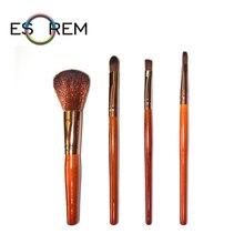 ESOREM 4pcs Wood Handle Cosmetic Brushes Set Foundation Brush Flat Contour Pencil Shader Eyeshadow Lip Pinceaux Maquillage