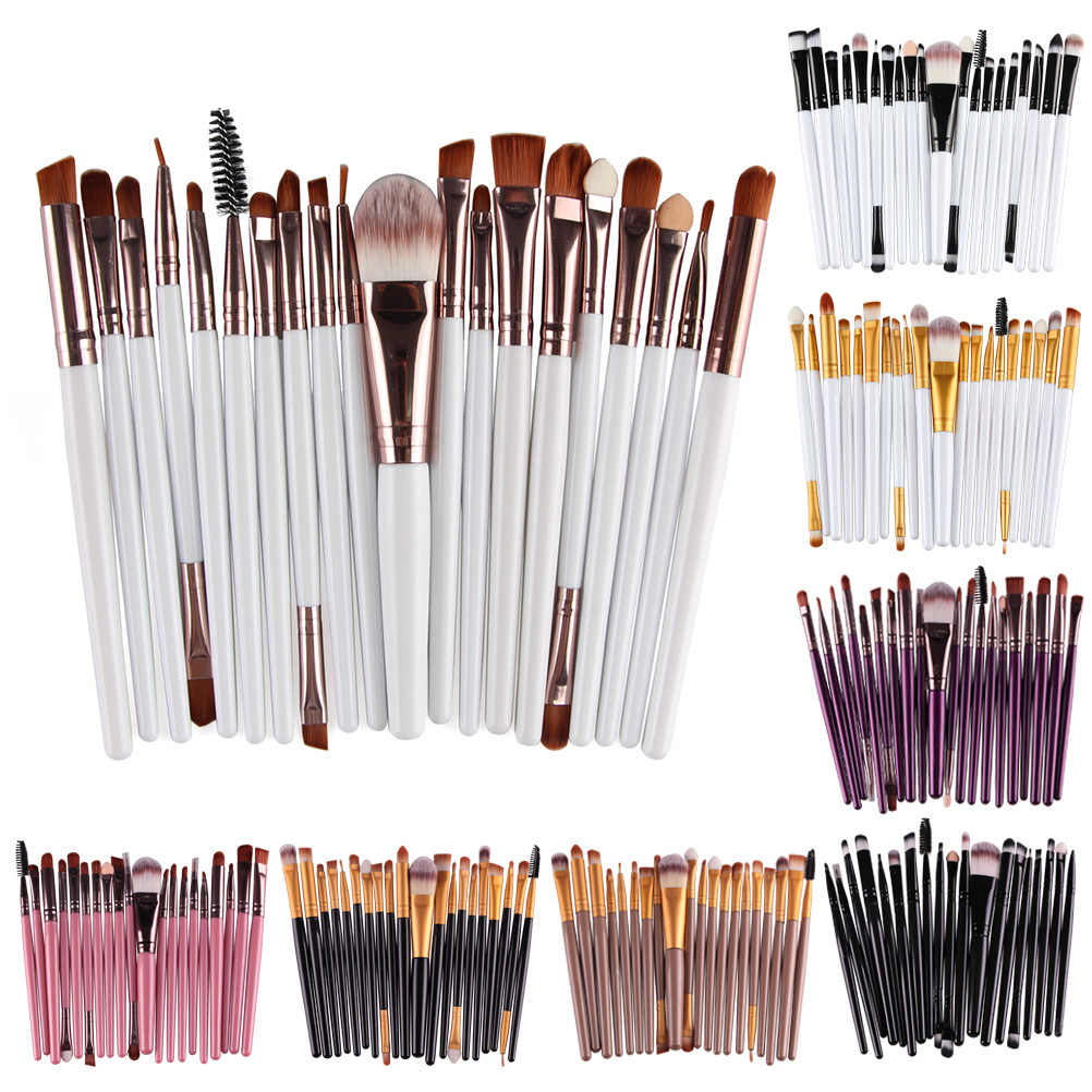 20 stks/set Make-Up Kwasten Pro Blending Oogschaduw Poeder Foundation Ogen Wenkbrauw Lip Eyeliner Make up Kwast Cosmetische Tool