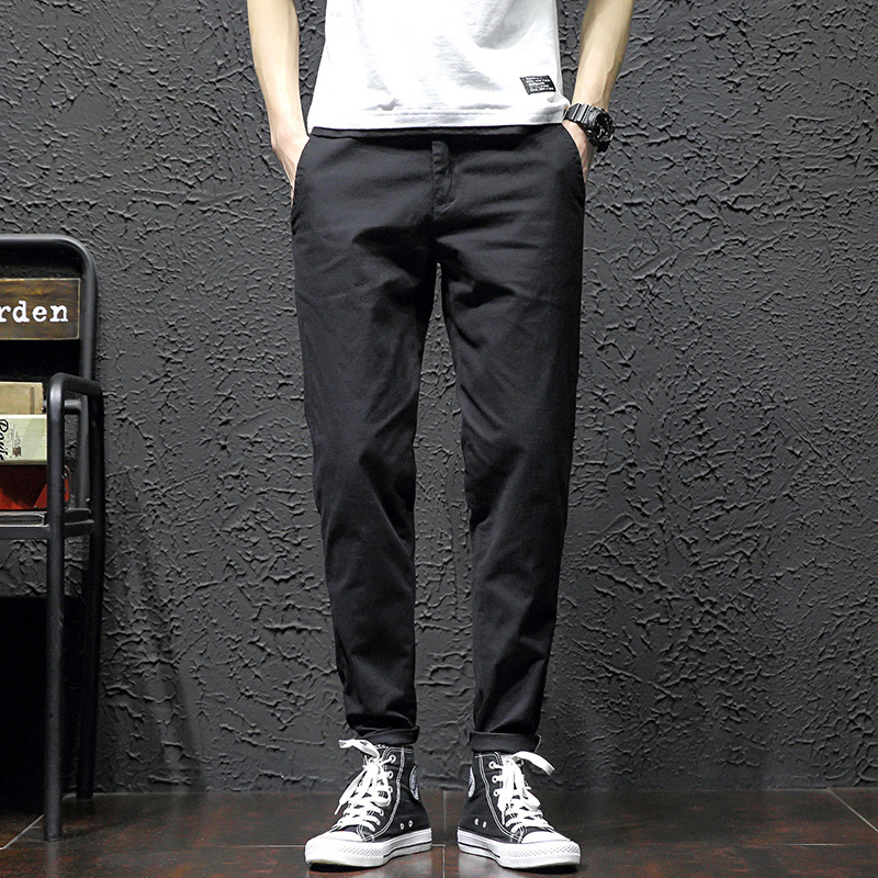 MEN'S WEAR 2019 New Style Korean-style Trend Simple Casual Sports Jeans Versitile Fashion Men Denim (Ankle-length Pants)