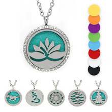 BOFEE Magnetic Essential Oil Locket Stainless Steel Necklace Pendant Lotus Flower Aromatherapy Perfume Diffuser Gift 30MM