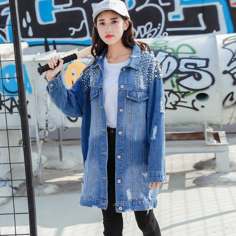 Yocalor Mode Losse Kralen Gat Gewassen Denim Jeans Jacket Vrouwen Chaqueta Mujer Streetwear Herfst Lange Jas Vrouwelijke Verfraaid - 3