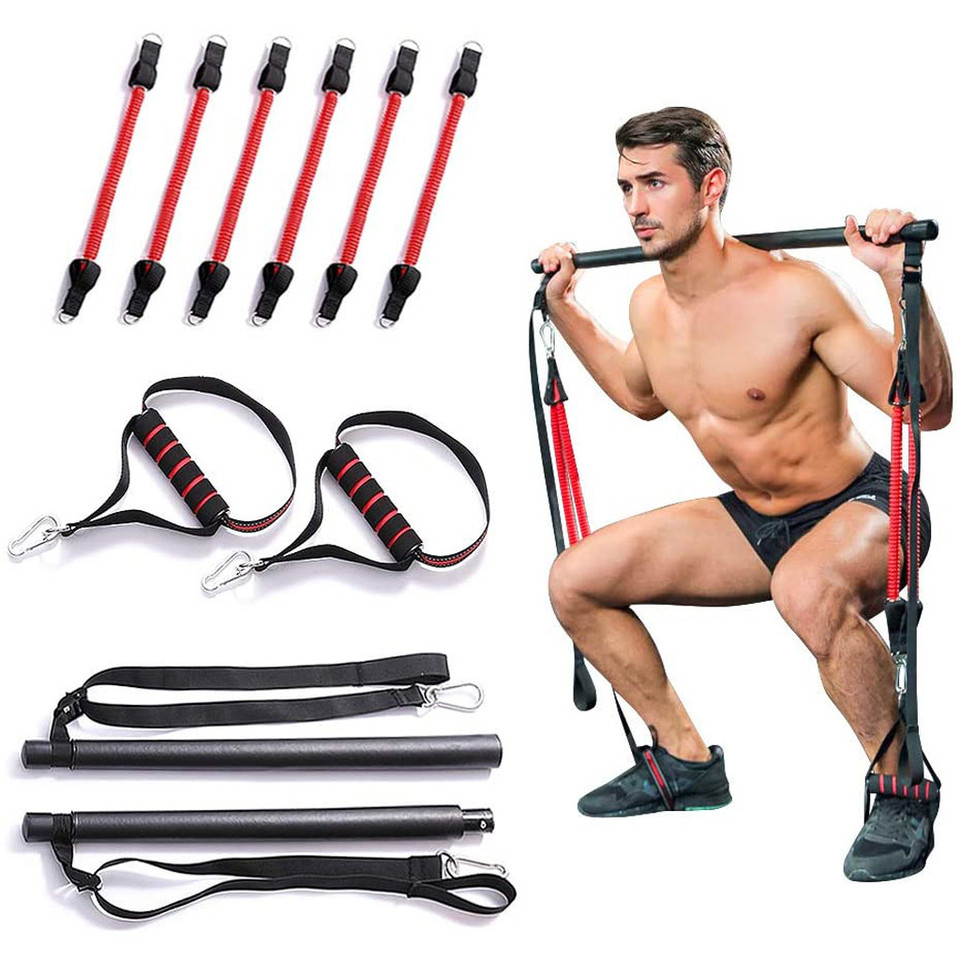 US $40.40 40% OFFPortable Pilates Stick Bar with Resistance bands Fitness  Pilates Bar Bodybuilding Rubber Tube Bands Yoga Exercise Training