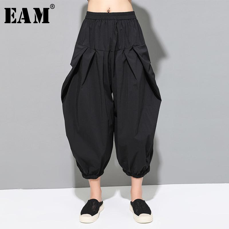 [EAM] High Elastic Waist Black Pleated Long Wide Leg Trousers New Loose Fit Pants Women Fashion Tide Spring Autumn 2019 1D155