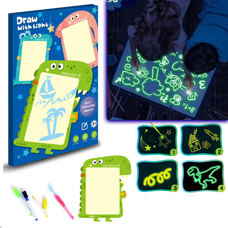 A3 Big Size LED Luminous Drawing Board Cartoon Animal Drawing Tablet With Light-Fun Fluorescent Pen Graffiti Educational Toy