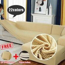 Plaid polaire épaissir housse de canapé pour taie d'oreiller gratuite L sectionnel Stretch élastique canapé couvre canapé couvre pour salon