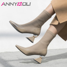 ANNYMOLI Winter Elastic Boots Women Natural Genuine Leather High Heel Ankle Slim Stretch Square Toe Shoes Lady Autumn 3-9