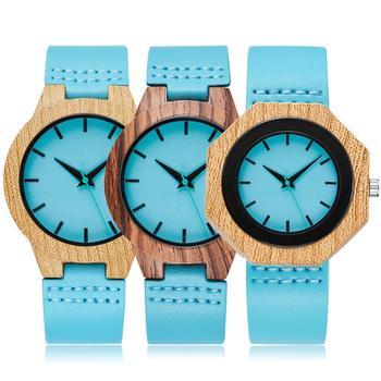 Creative Wood Watch Men Women Quartz Imitation Wooden Watch Blue Dial Hexagon Case Watches Leather Band Couple Wrist Clock Reloj фото