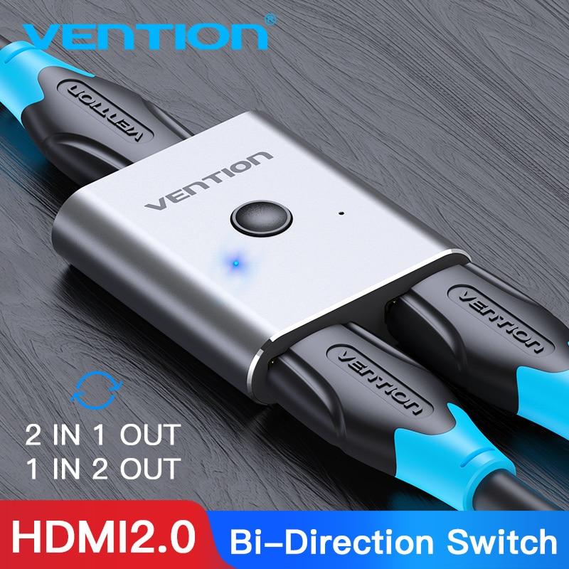 Vention hdmi switcher 4 k bi-direção 2.0 hdmi switch 1x 2/2x1 adaptador 2 em 1 para fora conversor para ps4 pro/4/3 tv caixa hdmi divisor