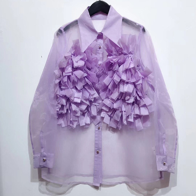 Chiffon Perspective Shirt Female Korean Style Wild Fashion Women Blouses and Tops Summer New 2020 Women Clothing F348 2