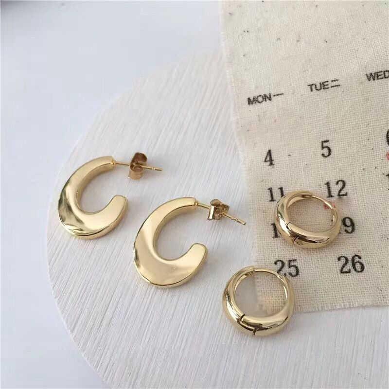เกาหลีทองสีโลหะรอบ Hoop ต่างหูขนาดเล็ก Geometric Circle Hook EAR EAR ต่างหูหญิงสาวของขวัญเครื่องประดับ aretes Mujer