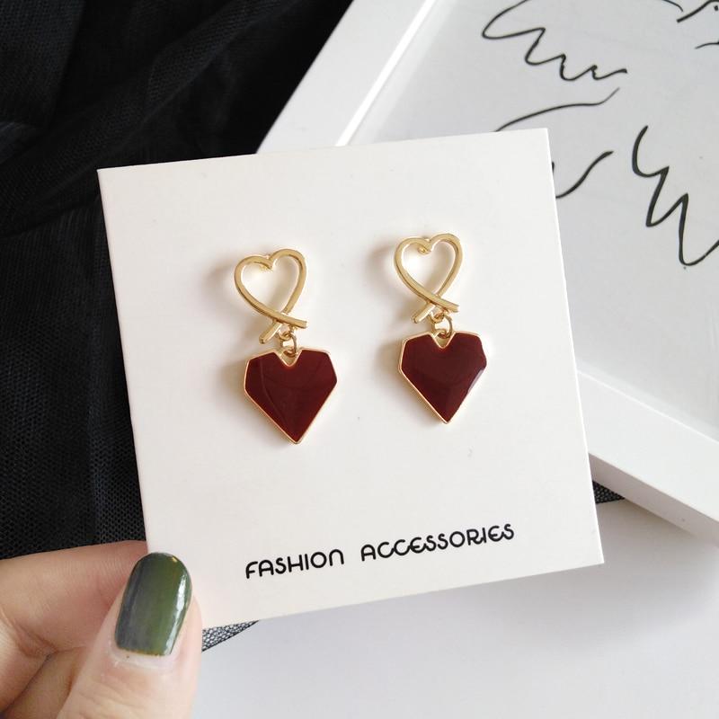 Fashion Heart-shaped Dangle Earrings Retro Joker Wine Red Hearts Eardrop Contracted Long Earrings For Women Jewelry Making