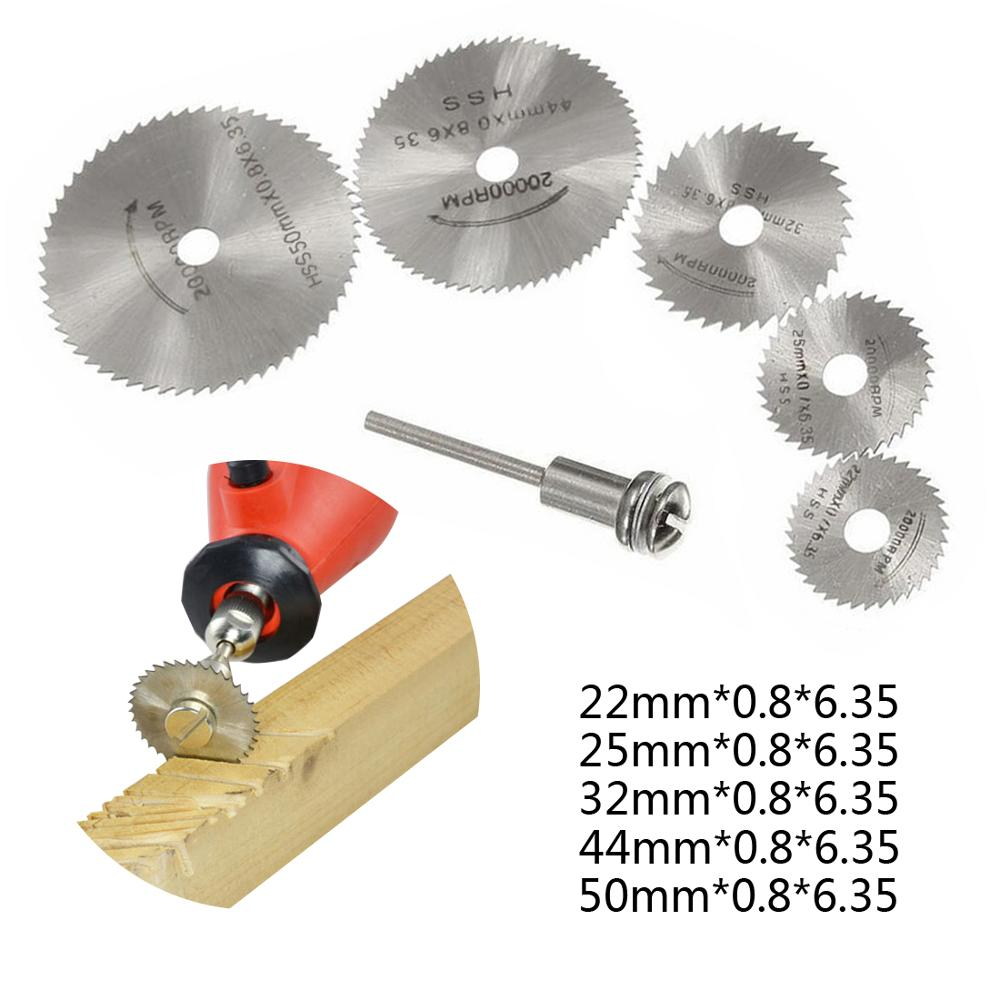 HSS High Speed Steel Mini Circular Saw Blade Set 6PCS Cutting Disc Rotary Tool Drill Tool Accessories For Wood Aluminum Cutting