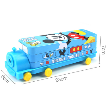 Disney Frozen Small Train Shape Pencil Case Disney Snow White Multifunctional Double-layer Pen Box Cartoon School Supplies Gift