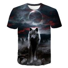 Camiseta divertida con estampado 3D de lobo para hombre, Tops de manga corta, informales, a la moda, 6XL, novedad de 2021
