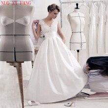 Boho Vestido De Noiva Cheap White Wedding Dress 2020 V Neck Lace Applique Bridal Gown Backless Satin Princess Wedding Gowns стоимость