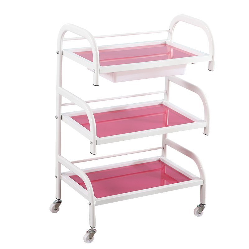 Beauty Salon Cart Three-tier Shelf With Drawer Beauty Salon Nail Cart Tilt Glass Tool Trolley