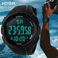 Reloj de pulsera deportivo para hombre, cronómetro Digital LCD, resistente al agua, con fecha, de goma, electrónico, Masculino