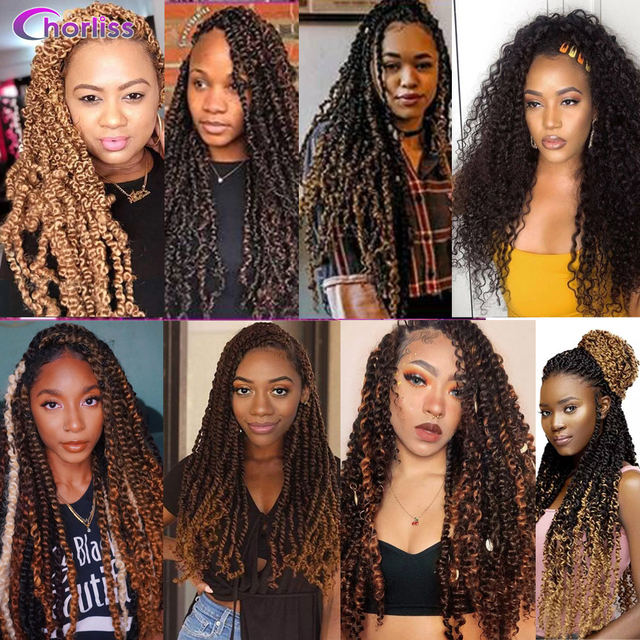 Passion Twist Crochet Hair Synthetic Braiding Hair Extensions 18Inch 15 Strands Spring Twist Hair 100g/Pack Long Black Brown 6