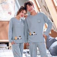 Wontive-pijama de manga larga para hombre, ropa de dormir de talla grande, de algodón, para otoño
