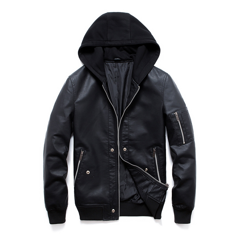 2020 New Leather Jacket Men Knitted Hooded PU Coats Slim Fit Trend Men's Leather Jacket Jaqueta De Couro Masculina