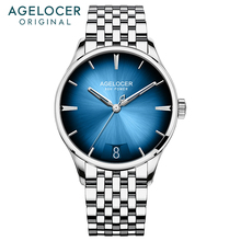 AGELOCER Swiss brand ultra thin automatic mechanical men's watch 80H power reserve blue colour gradient dial panoramic caseback цена 2017