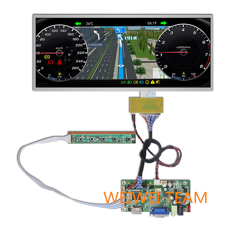 12.3 Inch 1920*720 IPS Display HSD123KPW1-A30 LCD Instrument Cluster Dashboard HDMI VGA Driver Board For Car Navigation Screen
