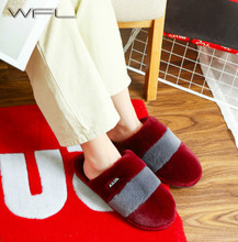 WFL 2019 Women Shoes Winter Warm Plush Household At Home Slippers Thick soled Anti slip Women and Men Couples Cotton Shoes