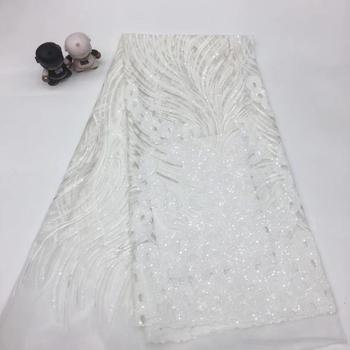 Madison White Lace Fabric with Sequins High Quality African Sequence Lace Fabrics Embroidered Nigerian Tulle Mesh Lace Fabric