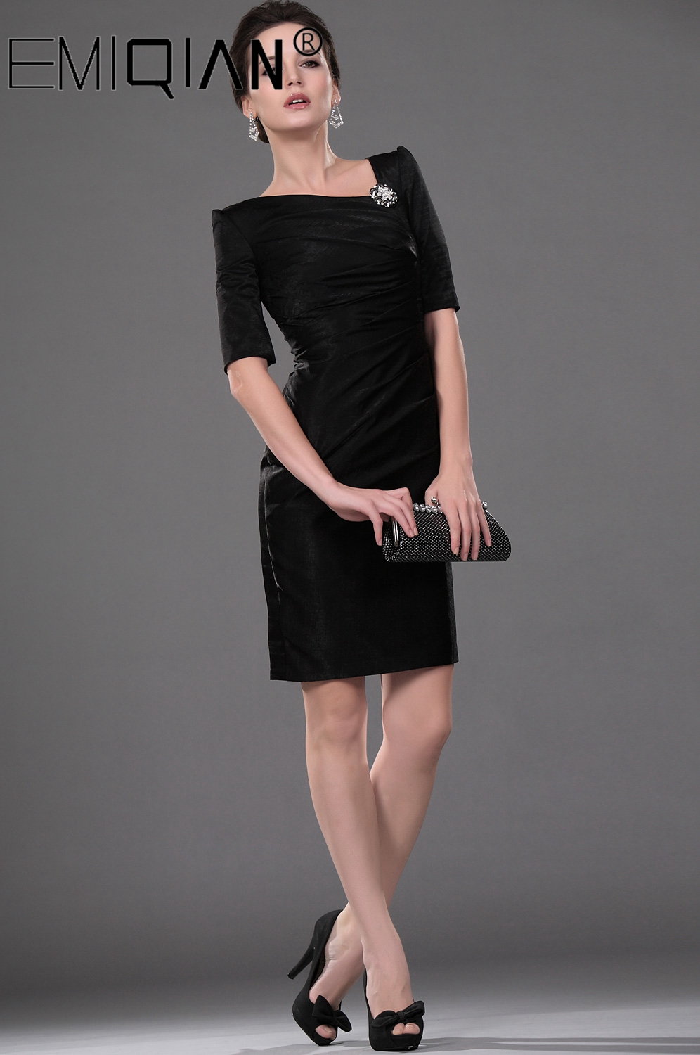 Short Formal Wedding Party Dress Sheath Half Sleeve Knee Length Black Mother Of The Bride Dress