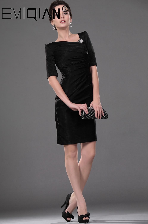 Short Formal Wedding Party Dress Sheath Half Sleeve Knee Length Black Mother Of The Bride Dress
