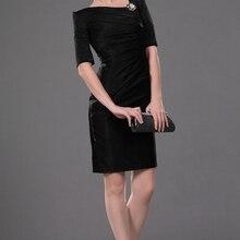 Short Formal Wedding Party Dress Sheath Half Sleeve knee Length Black M