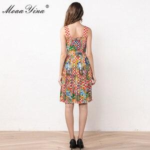 Image 5 - MoaaYina ファッションデザイナードレス夏の女性スパゲッティストラップビーズヴィンテージ休暇ドレス