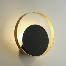 Luces de pared negras modernas Vintage Led de lujo altillo lámpara de pared redonda de Metal para restaurante sala de estar dormitorio pasillo de noche luz del hogar