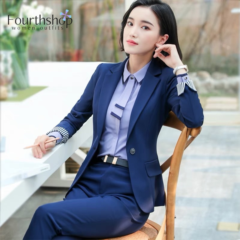 Formal Pant Suits For Women Office Lady Business Work Uniforms Autumn Winter 2 Piece Pants Jacket Set Plus Size Suit Female 2019