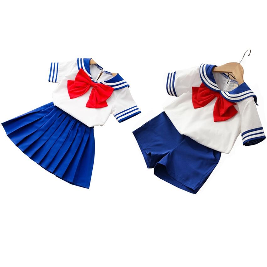 90-130cm Kids Boys Girls Sailor Moon Cosplay Costumes Japanese Style Kawaii Cute Primary School Uniform Choir Dance Clothing