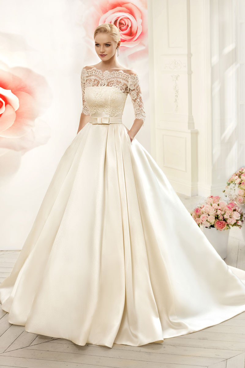 Two Piece Wedding Dresses 2016 Ball Gown Boat Neck Half Sleeve Bridal Gowns With Lace Jacket