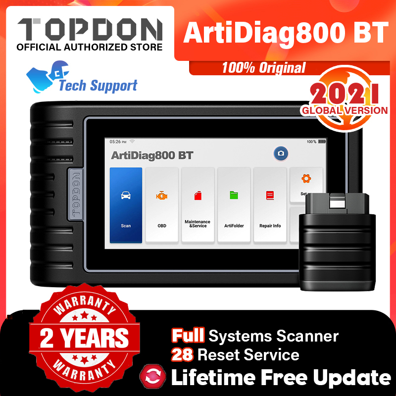 TOPDON ArtiDiag800 BT Car Diagnostic Tool Automotive Scanner Auto Scan Tools Bluetooth All System 28 Reset Functions PK MK808BT