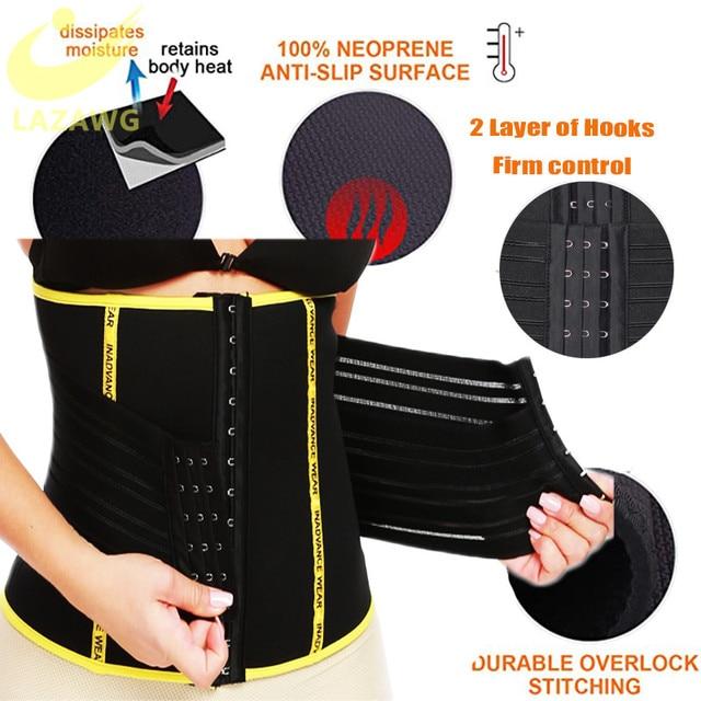LAZAWG Waist Trainer Hot Neoprene Sauna Sweat Belt Seamless Body Shaper Waist Workout Girdle Double Closure Belly Cincher Sweat 3