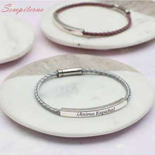 Custom Name Bar Bracelet Women Personalized Bracelets Engravd Letters Words Stainless Steel Red Black High Quality Rope Chain