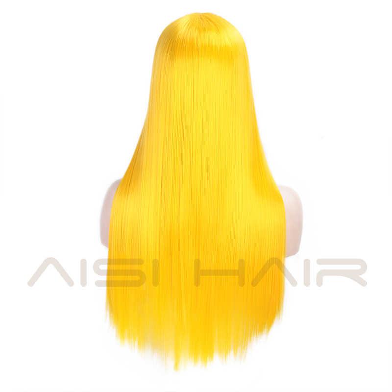 Peluca con malla frontal de pelo sintético blanco AISI, pelucas largas rectas para mujer de 24 pulgadas, peluca de parte media negra y roja para Cosplay o pelucas de fiesta 13x4