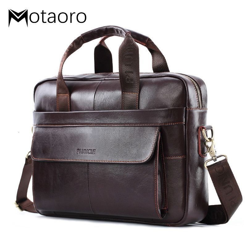 Casual Business Man Computer Bag Simple Design Solid Leather Briefcase Bags For Men Laptop Shoulder Bags Mens Luxury Handbags