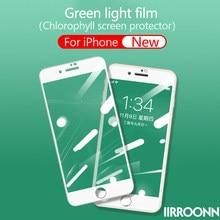 Película de luz verde para iPhone 6 7 8 plus Protector de pantalla de clorofila luz verde vidrio templado para iPhone 7plus 7 + 8 + 6 IIRROONN