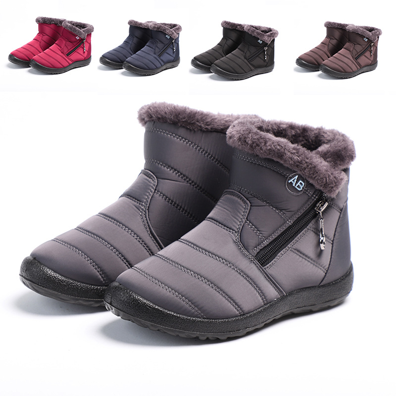 Women Boots 2021 Winter Shoes Woman Snow Boots With Plush Inside Botas Mujer Waterproof Plus Size 43 Winter Boots Female Booties