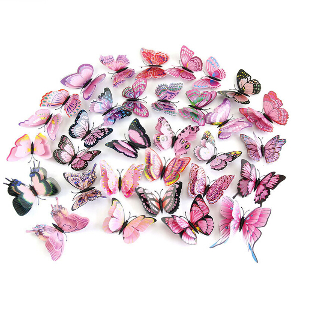 New style double wings 3D Butterfly wall stickers home decor Sticker on the Art Wall decal Mural appliances kids rooms 12pcs/bag
