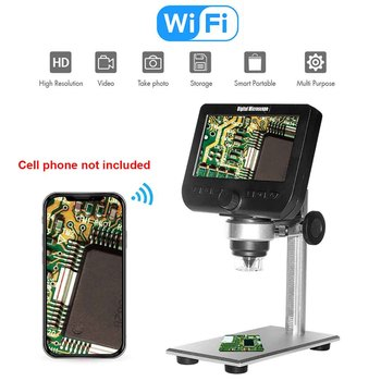 4.3 Inch LCD Display Magnification With Metal Bracket 8 Leds 1000X Wifi Students HD Mobile Link Education Digital Microscope Lab