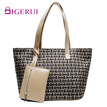 DIGERUI Spring 2020 New Large-capacity Mother Bag 2 Piece Set Woven Child-Mother Bag Wild Shoulder Bag Fashion Handbag(China)
